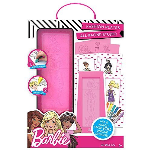 (Barbie Fashion Plates All in One Studio by Horizon Group USA, Color, Design & Create Custom Outfits Unique to Your Fashionista, Crayons Included, Multi)