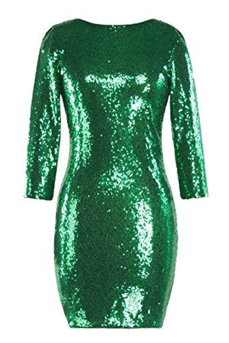 Solida Donne Di Paillettes Forma Club Con Scollo Jaycargogo In Bodycon Green Backless Di Sexy Colore Sottile Vestito B41vdxwYq