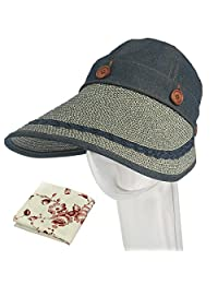 kilofly Women's Large Brim Removable Top UV Sun Visor Cap + Handkerchief Set