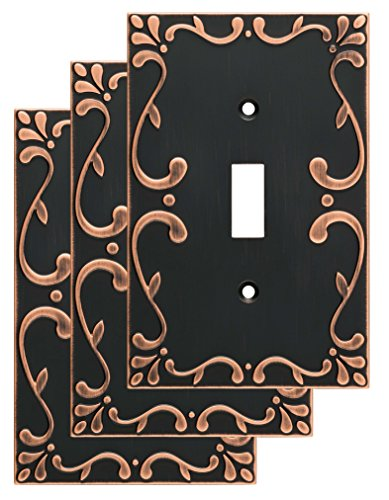 Franklin Brass W35070V-VBC-C Classic Lace Single Wall Switch Plate/Cover, 3 pack, Bronze With Copper Highlights