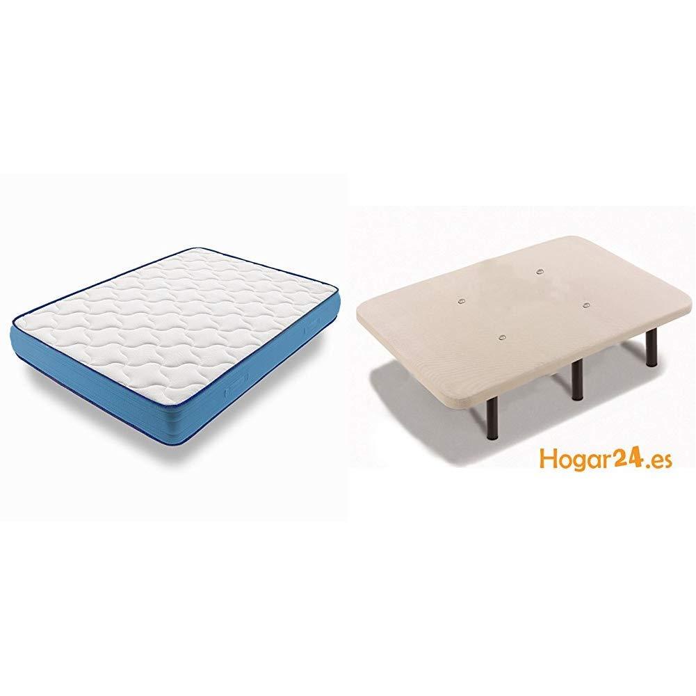 HOGAR24 ES - Conjunto de descanso 150 x 180 cm - Colchón Viscorelax Transpirable + Somier Con Patas Cuadradas y Ruedas (Tubo 30x30): Amazon.es: Hogar