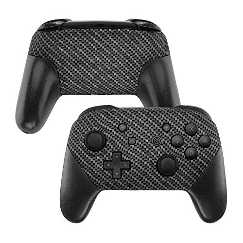 eXtremeRate Soft Touch Faceplate and Backplate NS Switch Pro Controller, Black Silver Carbon Fiber Patterned DIY Replacement Shell Housing Case for NS Switch Pro Controller - Controller NOT -