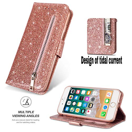 Shinyzone iPhone 6/iPhone 6S Glitter Zipper Wallet Case,Smooth PU Leather Case + Soft TPU Inner Shell with Card Holder and Hand Strap,Magnetic Closure Kickstand Flip Cover-Rose Gold from ShinyZone