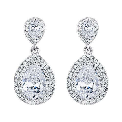 EVER FAITH Women's Cubic Zirconia Crystal Wedding Tear Drop Earrings Clear Silver-Tone ()