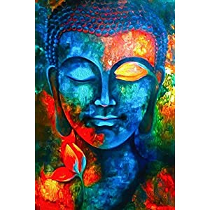 100yellow® Paper Buddha Posters, 12X18 Inches (Multicolour)