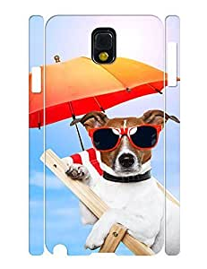 Umbrella Theme Smart Phone Case With Funny Dog Designed Slim Fit Case Cover for Samsung Galaxy Note 3 N9005
