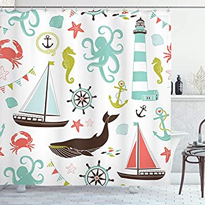"Ambesonne Nautical Shower Curtain, Pastel Colored Composition of Lighthouse Sailboat Fish Shells Octopus and Anchor, Cloth Fabric Bathroom Decor Set with Hooks, 70"" Long, Coral Turquoise - MEASUREMENTS - 70 INCHES LONG x 69 INCHES WIDE. Includes 12 hooks. No liner needed. MADE FROM - High quality %100 polyester Turkish fabric material. Non vinyl, Non PEVA. EASY TO USE - Waterproof and machine washable. Features vibrant colors and clear image. No Fading. - shower-curtains, bathroom-linens, bathroom - 51SzPRf53FL. SS400  -"