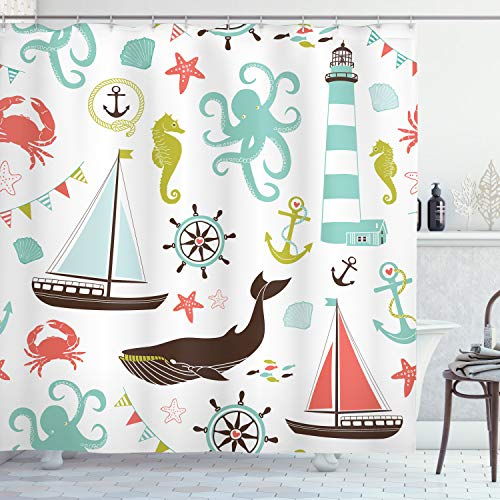 Ambesonne Nautical Shower Curtain, Pastel Colored Composition of Lighthouse Sailboat Fish Shells Octopus and Anchor, Cloth Fabric Bathroom Decor Set with Hooks, 70