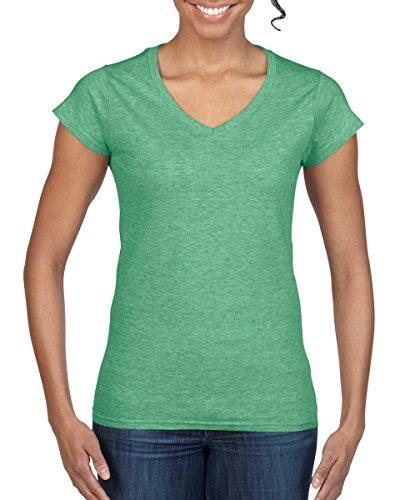 T-shirt Womens V-neck Irish - Gildan Women's Softstyle V-Neck T-Shirt - XL - US size 8 - 10 - Heather Irish Green