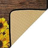 Jereee Sunflowers Floral Wood Non-Slip Kitchen Mat
