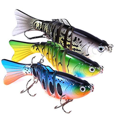 Gimland Fishing Lures for Bass 3.9 inch 7 Segment Multi Jointed Swimbaits Bass Slow Sinking Hard Lure Fishing Tackle Kits Lifelike 5pcs