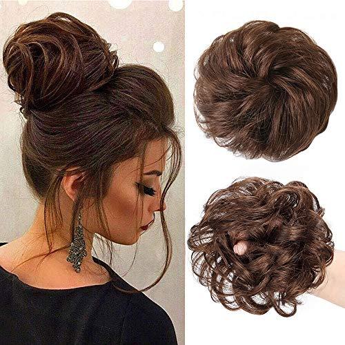 Stamped Glorious Messy Bun Scrunchy Human Hair Scrunchies Curly Messy Bun Wedding Hair Pieces for Women Kids Human Hair Updo Donut Chignons