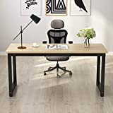 Tribesigns Computer Desk, 63' Large Office Desk Computer Table Study Writing Desk for Home Office, Walnut + Black Leg