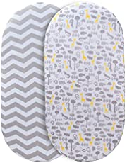 Momcozy Universal Bassinet Sheets Set 2 Pack for Boys & Girls, Soft & Breathable 100% Cotton, Fitted Elastic Design, Grey Animals & Chevron, Fits Oval Halo, Chicco Lullago, Arms Reach, Ingenuity
