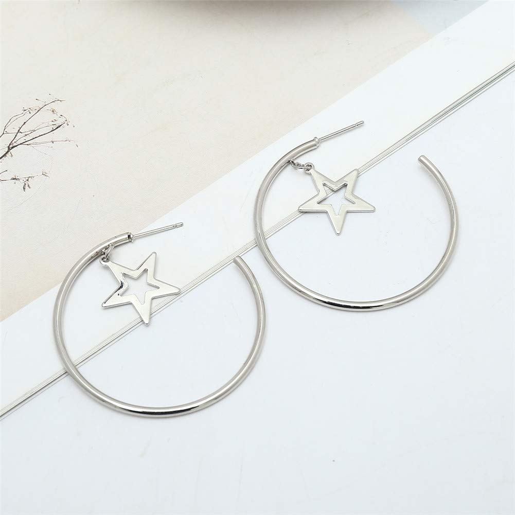 Golden//Silver Star Hoop Earrings Simple Large Geometric Dangle Earrings Fashion Earrings for Women Girls Gifts