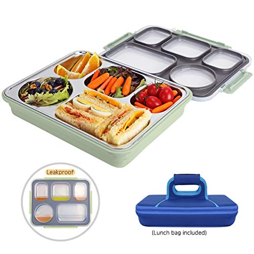 (         Large Bento Box with Removable Stainless Steel Tray -Leakproof Bento Lunch Box with 5 Compartments for Adults - Lunch Bag Included On-the-Go Meal and Snack Packing (Green)   )
