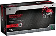 Venom Steel Nitrile Gloves, Rip Resistant Disposable Latex Free Black Gloves, 2 Layer Gloves, 6 mil Thick, Large (Pack of 10