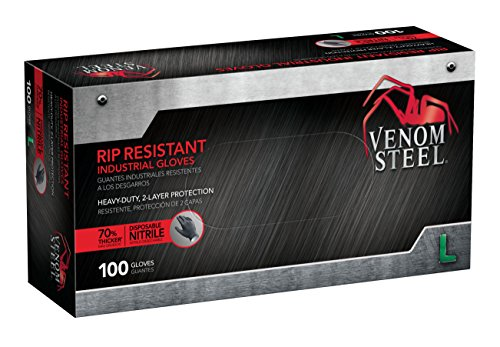 Venom Steel Nitrile Gloves, Rip Resistant Disposable Latex Free Black Gloves, 2 Layer Gloves, 6 mil Thick, Large (Pack of 100)