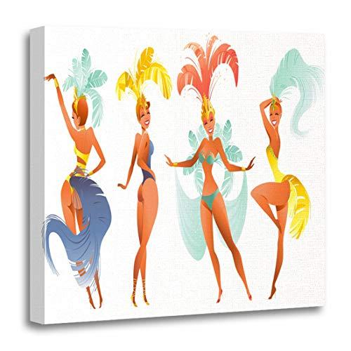 (Semtomn Canvas Wall Art Print Brazilian Samba Dancers Carnival in Rio De Janeiro Artwork for Home Decor 12 x 12 Inches)