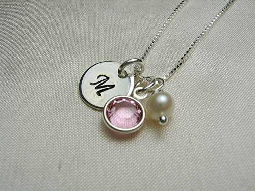 Personalized Necklace with Birthstone - Sterling Silver Initial Necklace - Custom Mothers Necklace - Monogram Birthstone Jewelry - Bridesmaid Gift Idea - New Baby Gift for Mom