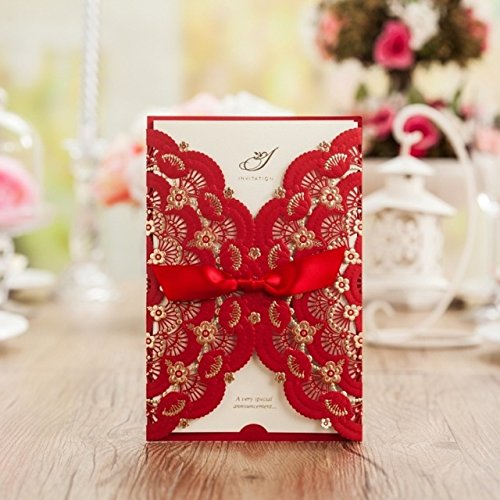 Red Lace Flower Invitation Cards Laser Cut Hollow-out Floral with Ribbon Bow Wedding Announce Invitations CW5113 (100) by Wishmade