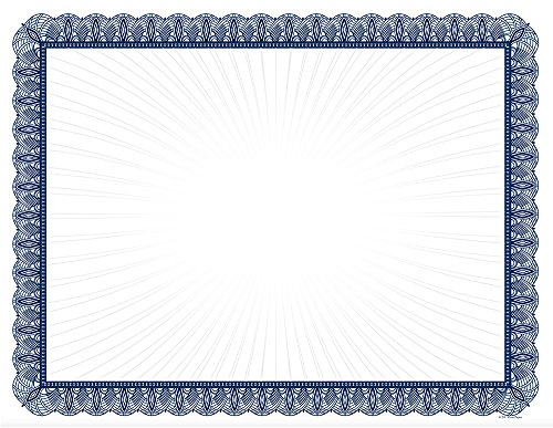 Blue Value Certificates - 100 Certificates (Stock Certificate Paper)