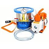 Glass Vac 1 Gallon Tall Stainless Steel Chamber with 3 CFM Single Stage RS-1 Pump kit *FREE SHIPPING*