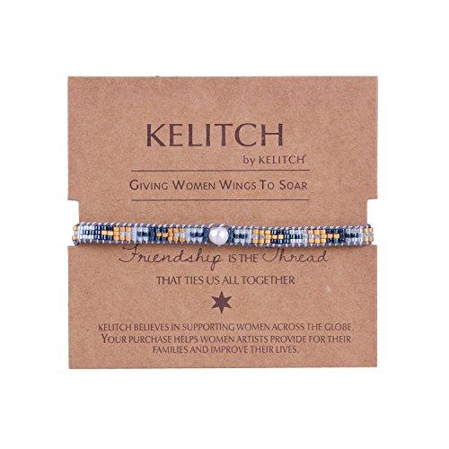 KELITCH Pearl Sead Beaded Wax rope Charm Wrap Bracelets Handmade Friendship New Women Jewelry (Blue)