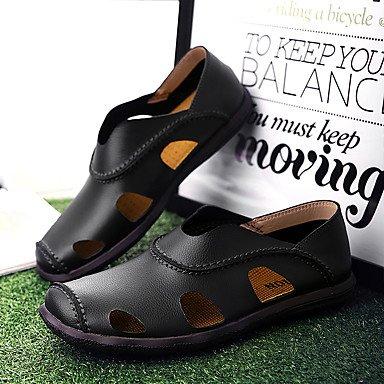 Mocasines de hombres &Amp; Comodidad Slip-Ons Cowhide / cuero talón plano Casual Slip-on negro / marrón / Amarillo Otros Black