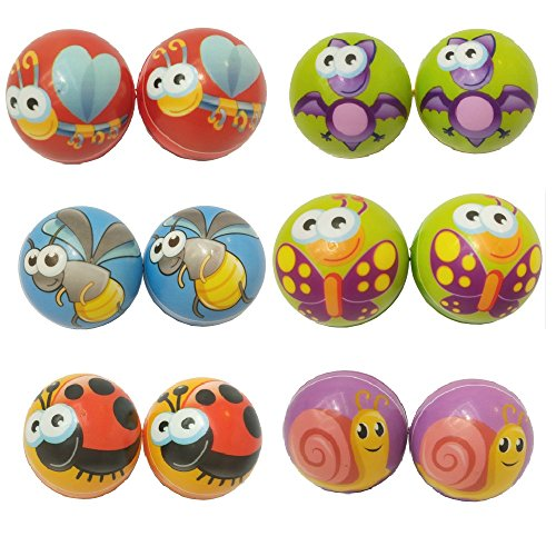 Mydio 24 Pack Insecta Stress squeeze balls Bulk Stress Relief Fun Toys Christmas Stocking Stuffer-assorted color 2.5 inch ()
