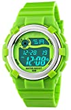 Fanmis Children's Outdoor Sports Multifunction Waterproof Digital Watch Military 12/24H Electronic Alarm Stopwatch Backlight 164FT Water Resistant Calendar Month Date Day Week Rubber Strap Watch Green