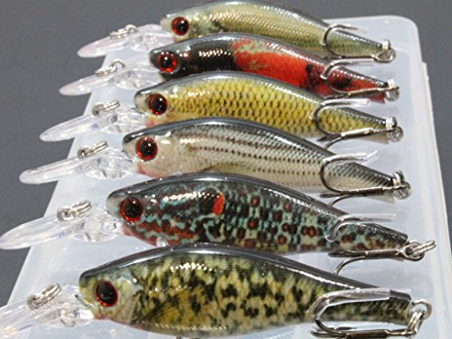 wLure 6 Lures per Pack Minnow Fishing Lures Lifelike 3 1/3 inch...