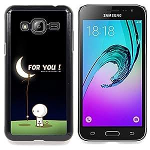 """Qstar Arte & diseño plástico duro Fundas Cover Cubre Hard Case Cover para Samsung Galaxy J3(2016) J320F J320P J320M J320Y (Arte de la luna Amor Hombre Traiga Estrellas Romance Regalo"""")"""