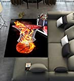 Unique Carpet Floor Rugs Mat for Home Living Dining Room Playroom Decoration,Flaming Basketball Area Rugs 7'x5′ For Sale