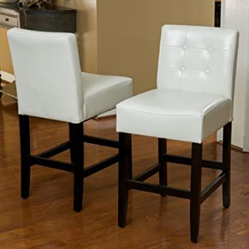 Amazon Com Gregory Ivory Leather Back Counter Stools Set