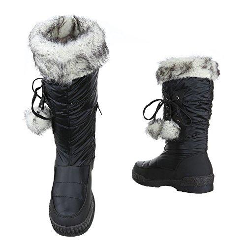... Stiefel   Boots Kinder Schuhe Mädchen Reißverschluss Ital-Design Stiefeletten  Schwarz a5d211b1f8