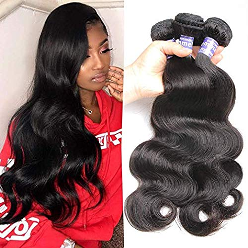 Semmely 8A Brazilian Hair 3 Bundles Body Wave 16 18 20inch Unprocessed Virgin Human Hair Bundles Weave Natural Black Color