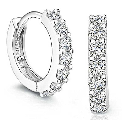 come Sterling Silver Rhinestones Hoop Diamond Stud Earrings for Women ()
