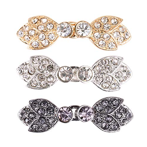 (FEESHOW 3 Pairs Crystal Closure Buttons Fasteners Clasp Sew on Clip for Cardigan Cape or Cloak Type B One Size)