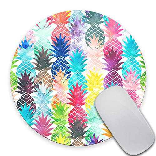 SSOIU Vintage Watercolor Pineapple Painting Art Round Mouse Pad, Cute Tropical Pineapple Circular Mouse Pads