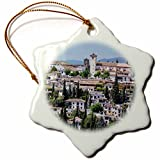 3dRose Danita Delimont - Spain - Spain, Andalusia. Granada. View across a spanish town. - 3 inch Snowflake Porcelain Ornament (orn_277890_1)