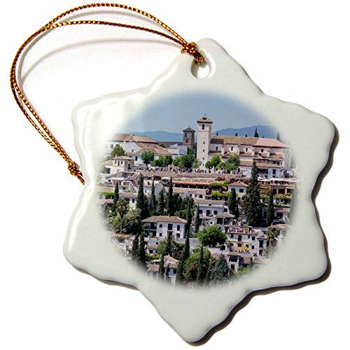 3dRose Danita Delimont - Spain - Spain, Andalusia. Granada. View across a spanish town. - 3 inch Snowflake Porcelain Ornament (orn_277890_1) by 3dRose