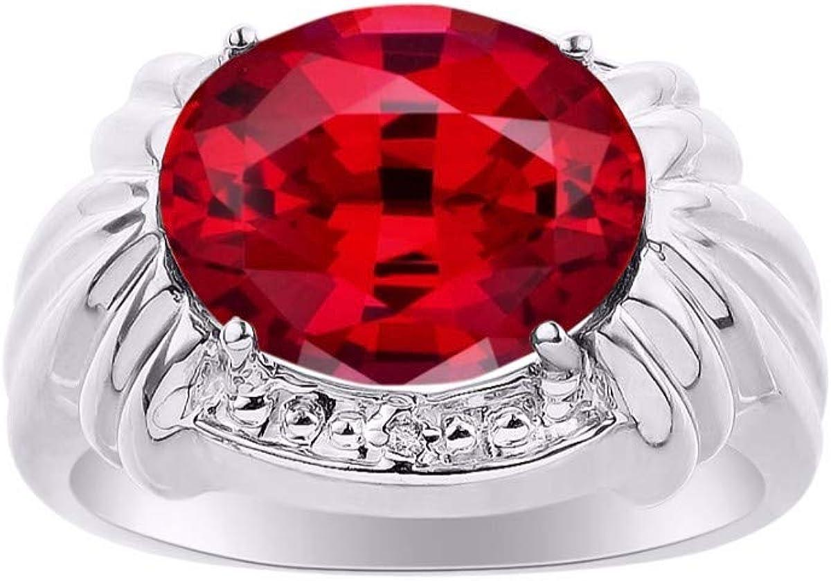 RYLOS - Anillo de plata de ley para mujer con piedras preciosas ovaladas y diamantes brillantes auténticos en esmeralda, rubí y zafiro, 925-12 x 10 mm, gran anillo para dedo medio o puntero