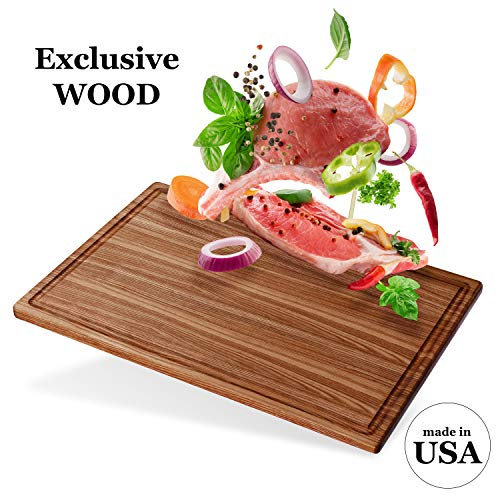 Premium Large Wood Cutting Board by V&B - 17x11 American Hardwood Chopping and Carving Boards for Kitchen with Juice Drip Groove, E-book Gift