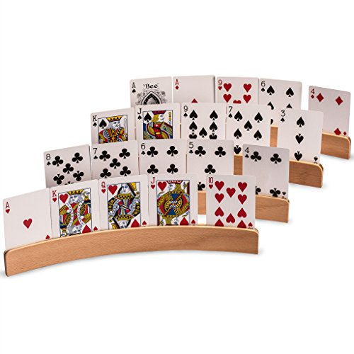 - Yellow Mountain Imports Wooden Playing Card Holders (Set of 4) - The Panorama - Travel-Friendly