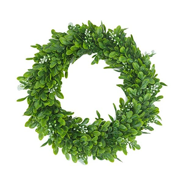 BOMAROLAN Artificial Green Leaves Wreath 15 Inch Boxwood Eucalyptus Wreaths Bodhi Summer Fall Large Wreaths Springtime A Flower for Outdoor Front Door Indoor Wall Or Window Décor