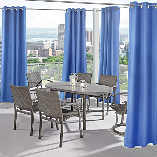 Outdoor Decor Seascapes Outdoor Curtain Pair with Grommets (100″ Wide by 84″ Long, Blue Azul)