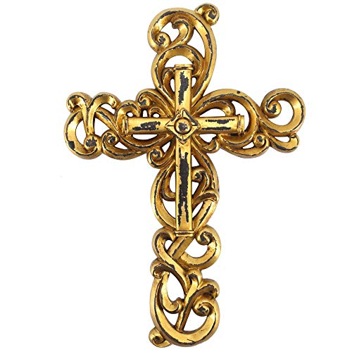 "Comfy Hour 12"" Gold Wall Hung Classic Cross, Stone Resin Sculpture, Vintage, White Antique Style"