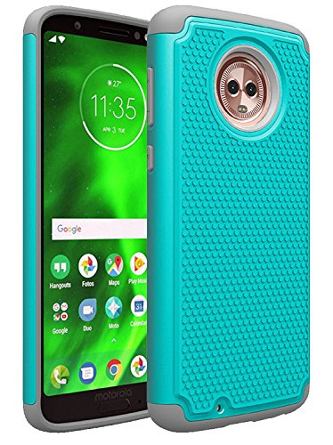 Moto G6 Case, OEAGO [Shockproof] Hybrid Dual Layer Defender Protective Case Cover for Motorola Moto G6 (G 6th Generation) (Teal)