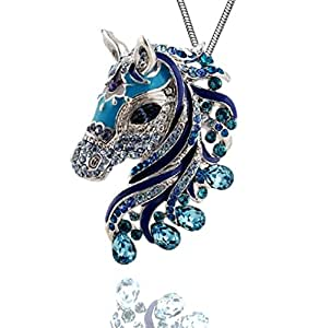 """DianaL Boutique Beautiful Horse 3D Pendant and Necklace 18"""" Chain Gift Boxed Fashion Jewelry"""
